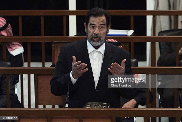 Saddam Hussein speaks in court during the continuation of his 'Anfal' genocide trial November 28 2006 in Baghdad Iraq The trial resumed with charges...