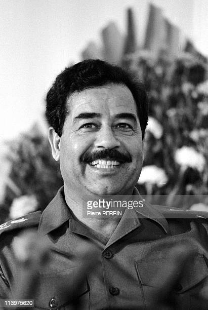 Saddam Hussein welcomes his people In Baghdad Iraq On October 17 1983Saddam Hussein portrait