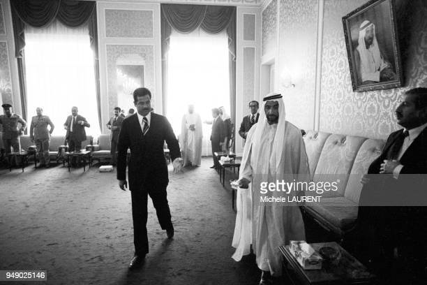 Saddam Hussein with Sheikh Zayed bin Sultan alNahyan