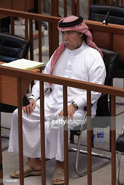 Saddam Hussein's half brother Barazan alTakriti looks on during final arguments in their trial in the heavily fortified Green Zone on July 24 2006 in...