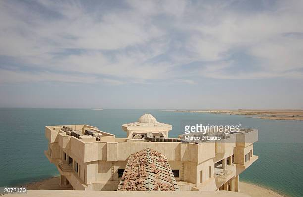Saddam Husseins' palace MaqarelTharthar looks out over Lake Tharthar on June 11 2003 at Lake Tharthar Iraq Saddam celebrated his birthday in 1999 by...