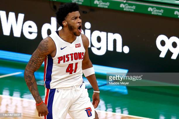 Saddiq Bey of the Detroit Pistons celebrates after scoring against the Boston Celtics during the fourth quarter of the Pistons 108-102 win over the...