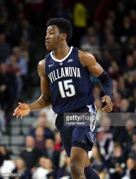 Saddiq Bey of the Villanova Wildcats during a game against the Penn Quakers at The Palestra on the campus of the University of Pennsylvania on...