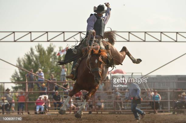 Saddle Bronc rider Kole Ashbacher from Arrowwood AB in action during the 105th Annual Bruce Stampede the oldest one day rodeo in Canada On Sunday...