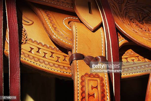 saddle leather cowboy riding tack - leather belt stock pictures, royalty-free photos & images