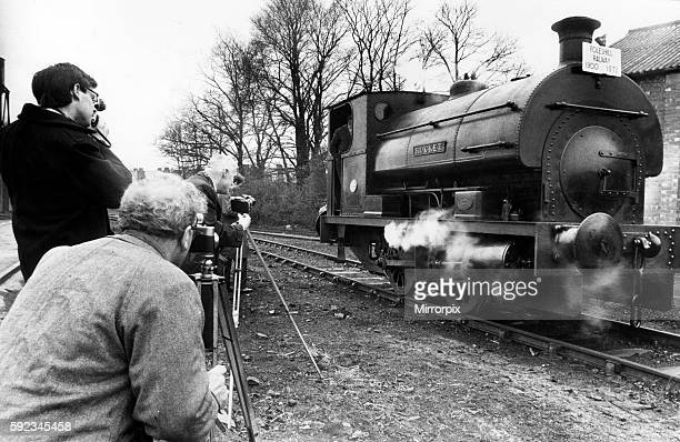 Saddle tank steam locomotive called Rocket on its last journey through Courtaulds at Coventry watched by dozens of rail enthusiasts before a ceremony...