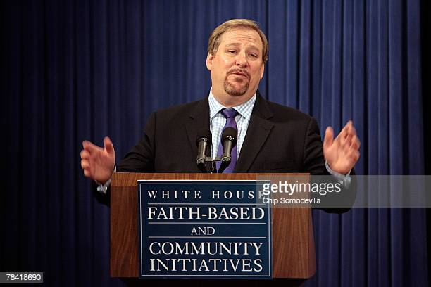 "Saddleback Church Pastor Rick Warren, author of ""The Purpose Driven Life,"" speaks during the White House Roundtable on Faith-Based and Community..."