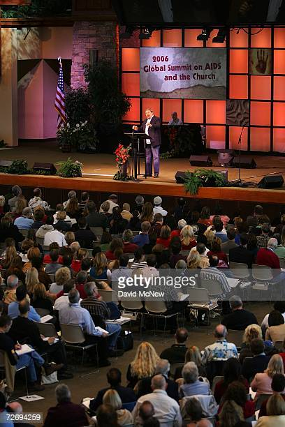 Saddleback Church Pastor Rick Warren speaks at the second annual Global Summit on AIDS and The Church at Saddleback Church December 1 2006 in Lake...