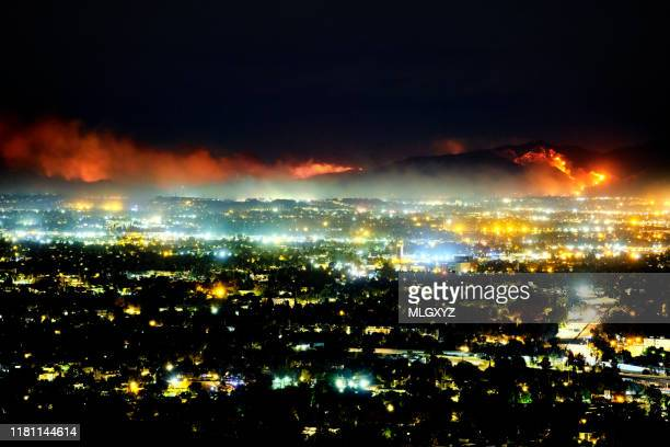 saddleridge fire 2019 - editorial stock pictures, royalty-free photos & images