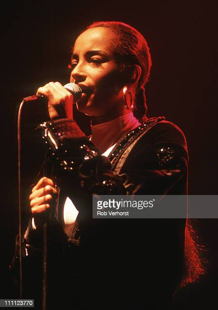 Sade performs on stage at Ahoy Rotterdam Netherlands 18th February 1986