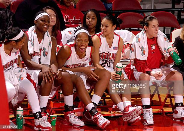 Sa'de WileyGatewood Crystal Langhorne Laura Harper Kristi Toliver and Shay Doron of the Maryland Terrapins on the bench during the game against...