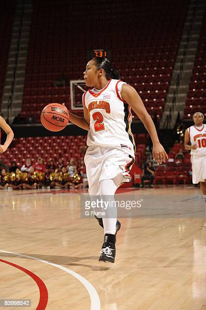 Sa'de WileyGatewood of the Maryland Terrapins brings the ball up the court against the Delaware State Hornets at the Comcast Center on November 16...