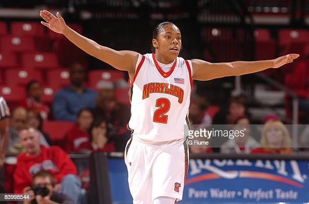 Sa'de WileyGatewood of the Maryland Terrapins defends against the Delaware State Hornets at the Comcast Center on November 16 2008 in College Park...