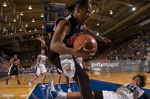 Sa'de WileyGatewood of the Maryland Terrapins dives out of bounds for the ball against the Duke Blue Devils January 13 2007 at Cameron Indoor Stadium...