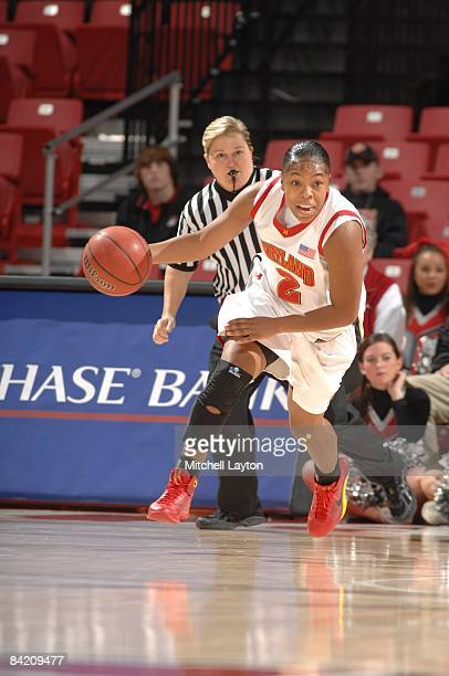 Sa'de WileyGatewood of the Maryland Terrapins dribbles the ball up court during a college basketball game against the Mississippi State Bulldogs on...