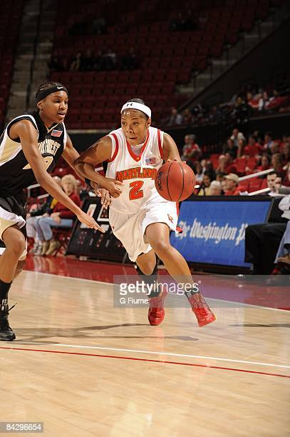 Sa'de WileyGatewood of the Maryland Terrapins handles the ball against the Wake Forest Demon Deacons at the Comcast Center on January 8 2009 in...