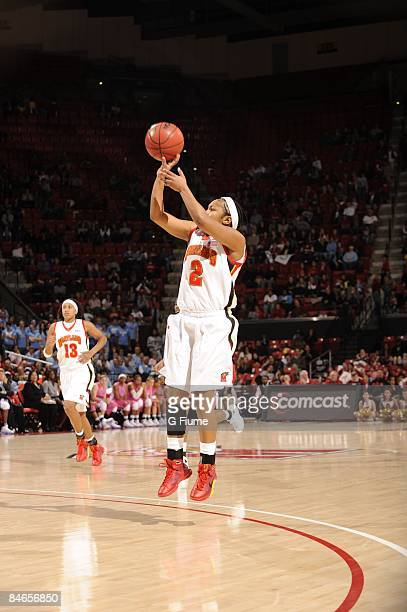 Sa'de WileyGatewood of the Maryland Terrapins shoots a jump shot against the North Carolina Tar Heels at the Comcast Center on January 25 2009 in...