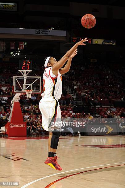 Sa'de WileyGatewood of the Maryland Terrapins shoots a jumpshot against the Virginia Tech Hokies at the Comcast Center on January 18 2009 in College...