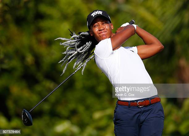 Sadena A Parks tees of the fourth hole during the first round of the Pure Silk Bahamas LPGA Classic at the Ocean Club Golf Course on January 28 2016...