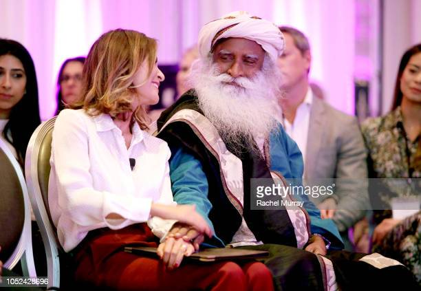 Sadhguru and Visionary Women's Executive Board Member Angella Nazarian attend Visionary Women Consciousness The Ultimate Intelligence An Evening With...
