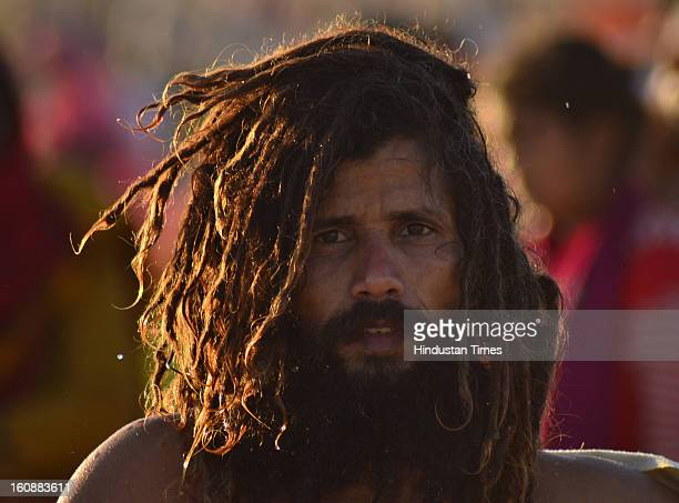 Sadhu at Sangam , in Kumbh mela area, on February 7, 2013 in Allahabad, India.The mega religious fair is held once in 12 years in Allahabad and the...
