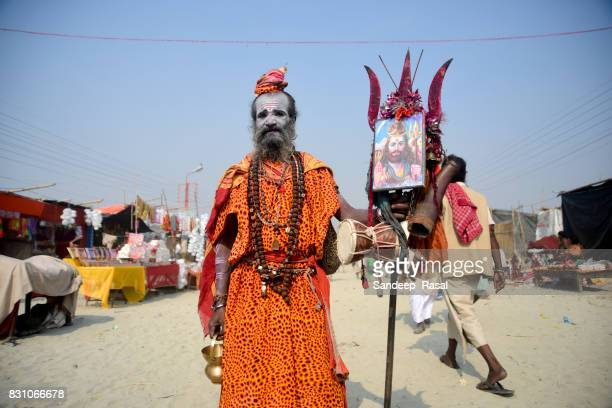 a sadhu during ganga sagar fair - ganga sagar stock photos and pictures