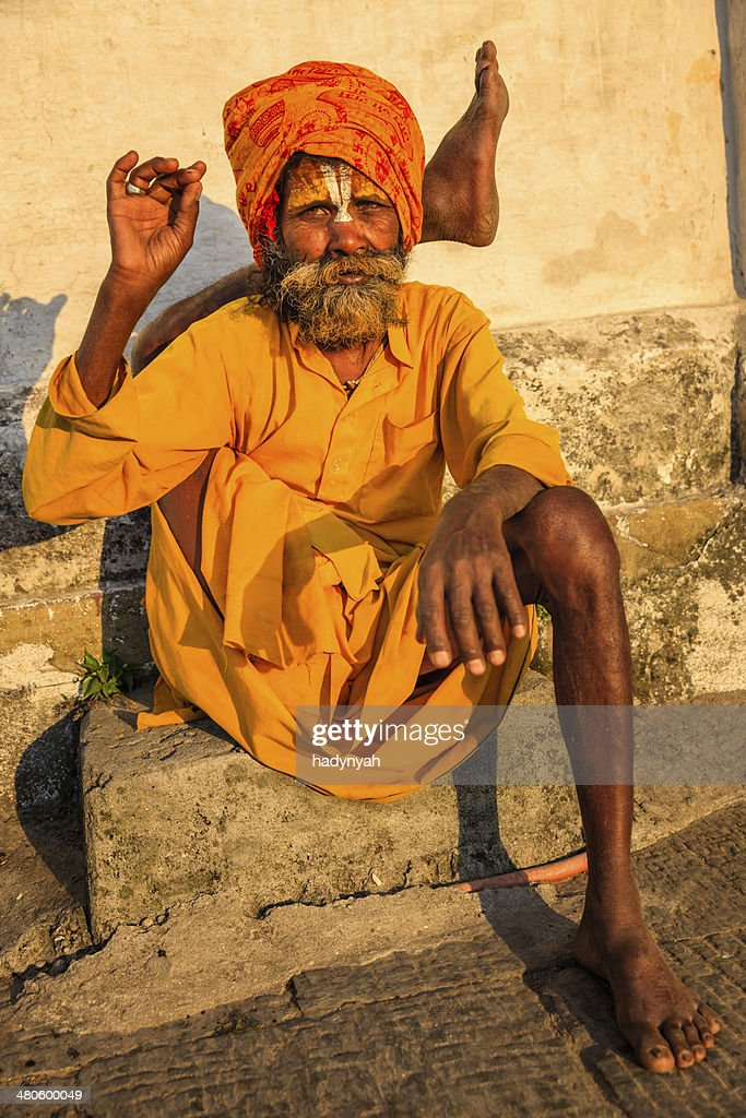 Sadhu Indian Holyman Practicing Yoga In The Temple Stock Photo
