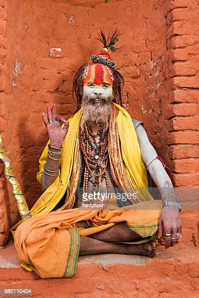 Sadhu - Indian holyman sitting in the temple, Kathmandu, Nepal