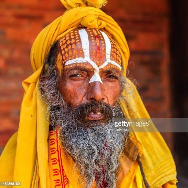 Sadhu - indian holyman sitting in the temple