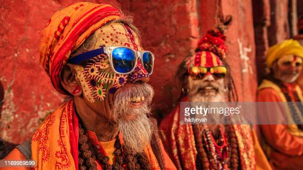 sadhu - indian holymen sitting in the temple - kathmandu stock pictures, royalty-free photos & images
