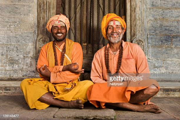 sadhu - indian holymen sitting in the temple - traditional clothing stock pictures, royalty-free photos & images