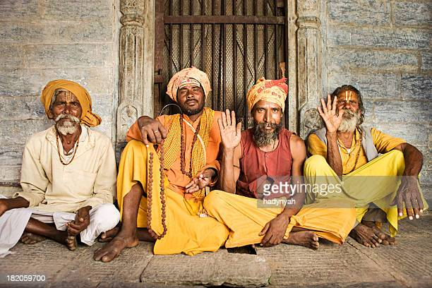 Sadhu - indian holymen sitting in the temple