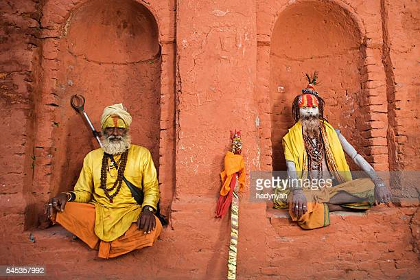 sadhu - indian holymen sitting in the temple - nepal stock pictures, royalty-free photos & images