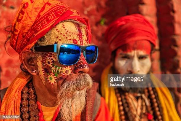 sadhu - indian holymen sitting in the temple - hinduism stock pictures, royalty-free photos & images