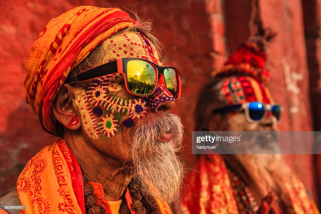 Sadhu - indian holymen sitting in the temple : Stock Photo