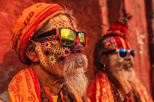 Sadhu - indian holymen sitting in the temple 863655882