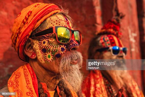 sadhu - indian holymen sitting in the temple - cultures stock pictures, royalty-free photos & images
