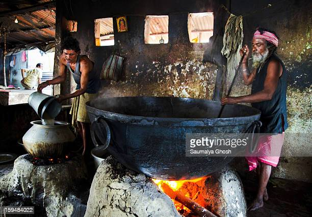 Sadhu is preparing food for his community in a temple
