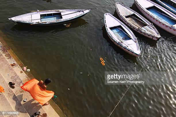 Sadhu preparing to bathe in the holy Ganges
