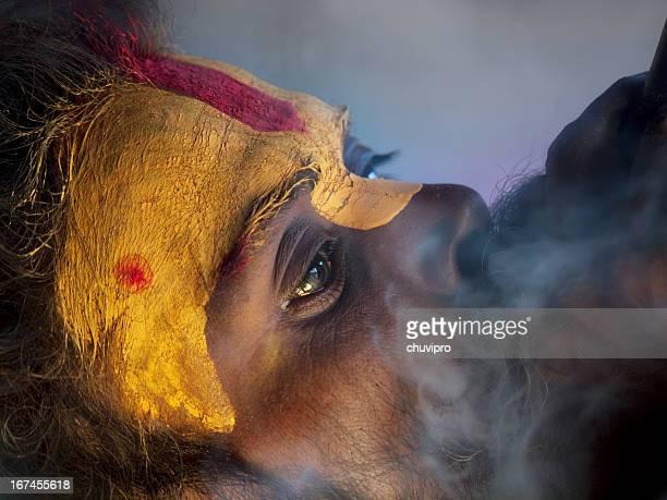 Sadhu smoking hashish