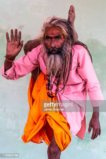 sadhu (holy man) standing in yoga pose with one leg behind his head, with long grey streaked hair in pink and orange clothes, hand raised in greeting, bateshwar, uttar pradesh, india (model release) - james strachan stock pictures, royalty-free photos & images