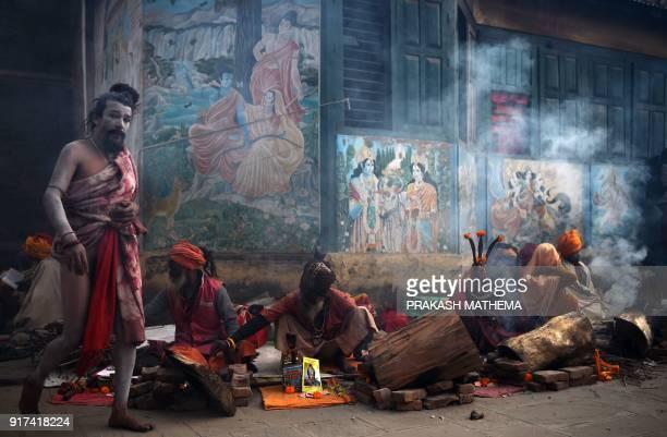 A Sadhu walks near the Pashupatinath Temple in Kathmandu on February 12 on the eve of the Hindu festival Maha Shivaratri Hindus mark the Maha...