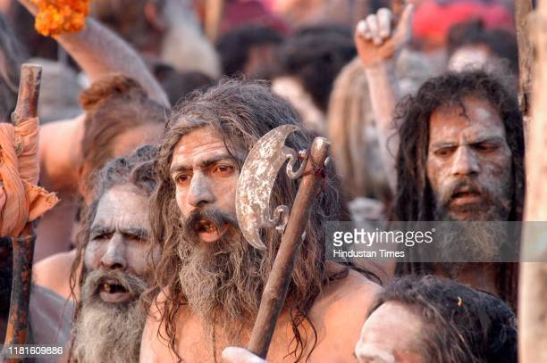 Sadhus arrive to take holy dip at Sangam during Ardh Kumbh Mela, on January 15, 2007 in Allahabad, India.