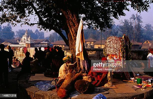 sadhus (hindu holy man) at pashupatinath temple during shivaratri festival. - maha shivaratri stock pictures, royalty-free photos & images
