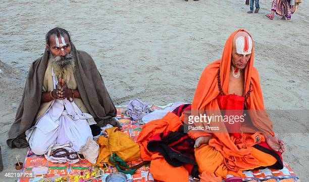 Sadhus offer prayer after taking holydip in the waters of Sangam on the occasion of 'Basant Panchami' festival that highlights the coming of spring