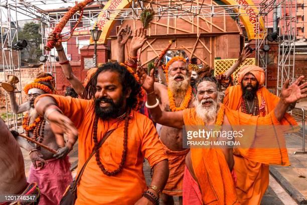 Sadhus take part in a religious procession ahead of Hindu festival 'Maha Shivaratri' in Kathmandu on February 19, 2020. - Hindus mark the 'Maha...