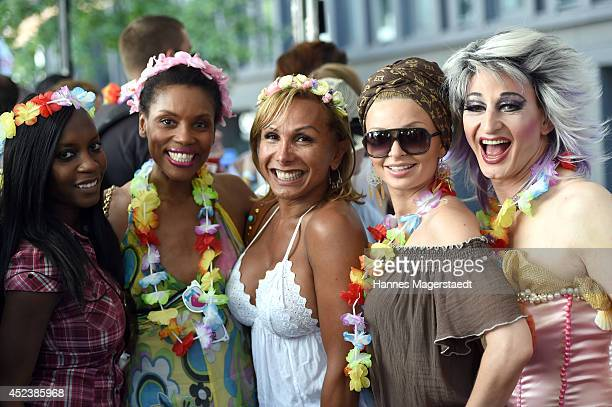 Sadia De Kiden Stephanie Simbeck Julia Prillwitz Belinda Gold and Kruella Lamour attends the Christopher Street Day gay pride parade on the P1 truck...