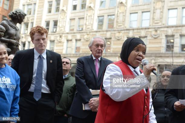 Sadia Mohamed from Sudan speaks at a rally against the Trump administration as US Representative Joe Kennedy III and US Senator Edward Markey at the...