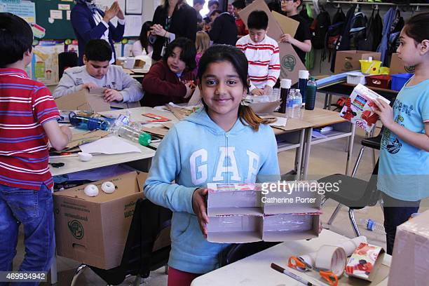 Sadia Samoon shows us the progress on her 'bee hotel' for solitary foraging bees that have strayed too far from their hive Her grade 5 classroom at...