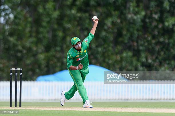 Sadia Yousaf of Pakistan bowls during the Women's One Day International match between the New Zealand White Ferns and Pakistan on November 9 2016 in...